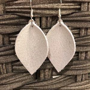 Shimmer off white leather earrings